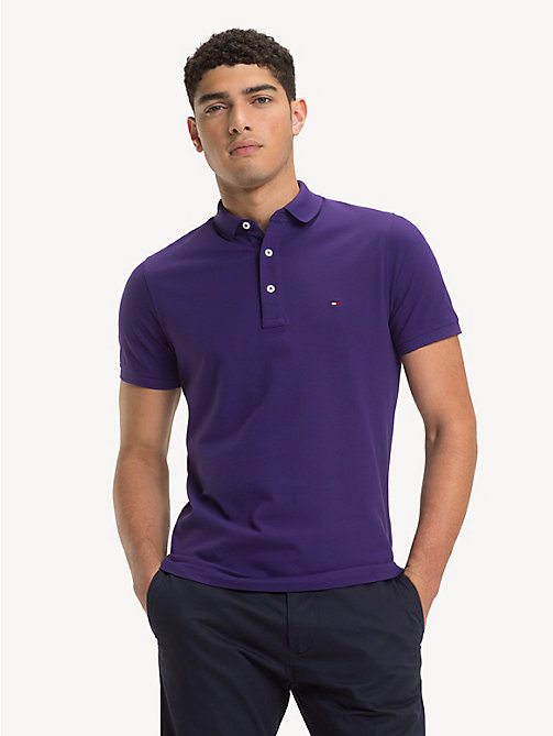 TOMMY HILFIGER Pure Cotton Slim Fit Polo - PARACHUTE PURPLE - TOMMY HILFIGER Polo Shirts - main image
