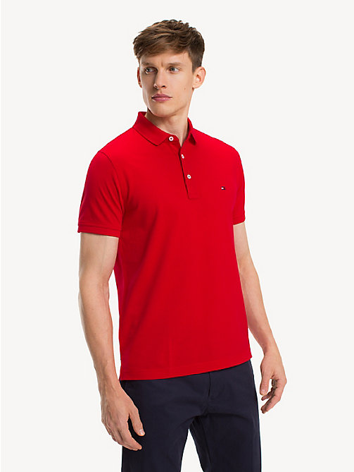 TOMMY HILFIGER Pure Cotton Slim Fit Polo - GOJI BERRY - TOMMY HILFIGER NEW IN - main image