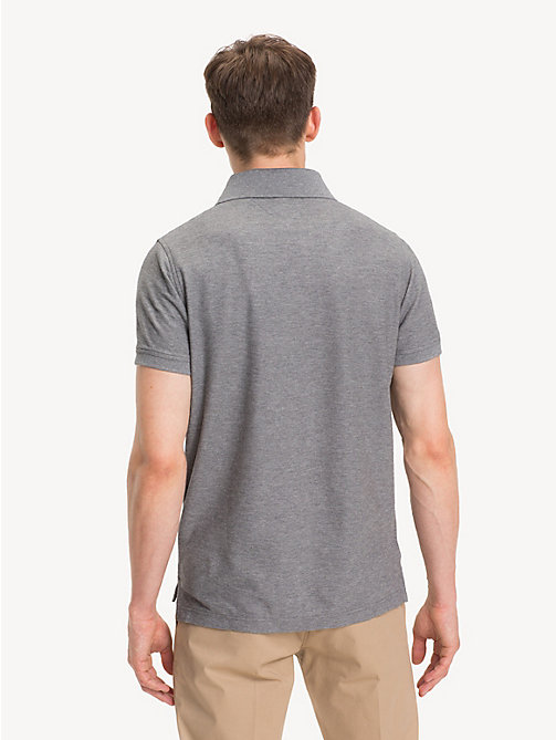 TOMMY HILFIGER Pure Cotton Slim Fit Polo Shirt - SILVER FOG HTR - TOMMY HILFIGER NEW IN - detail image 1