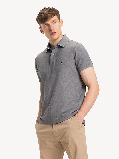 TOMMY HILFIGER Pure Cotton Slim Fit Polo Shirt - SILVER FOG HTR - TOMMY HILFIGER NEW IN - main image
