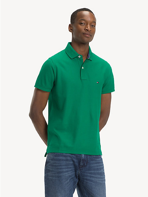 TOMMY HILFIGER Pure Cotton Slim Fit Polo Shirt - ULTRAMARINE GREEN - TOMMY HILFIGER NEW IN - main image