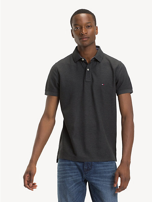 TOMMY HILFIGER Pure Cotton Regular Fit Polo - CHARCOAL HTR - TOMMY HILFIGER Polo Shirts - main image