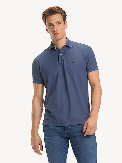 TOMMY HILFIGER Pure Cotton Regular Fit Polo - VINTAGE INDIGO - TOMMY HILFIGER Polo Shirts - main image