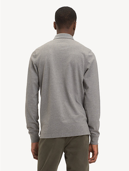 TOMMY HILFIGER Slim Fit Long-Sleeve Polo Shirt - SILVER FOG HTR - TOMMY HILFIGER NEW IN - detail image 1