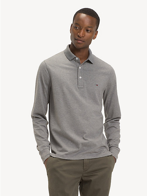 TOMMY HILFIGER Slim Fit Long-Sleeve Polo Shirt - SILVER FOG HTR - TOMMY HILFIGER NEW IN - main image