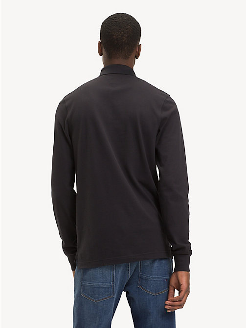 TOMMY HILFIGER Slim Fit Long-Sleeve Polo Shirt - JET BLACK - TOMMY HILFIGER Polo Shirts - detail image 1
