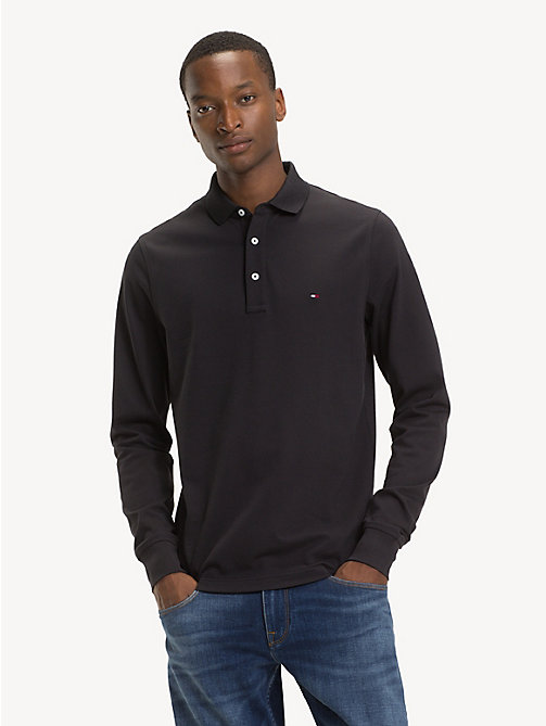 TOMMY HILFIGER Slim Fit Long-Sleeve Polo Shirt - JET BLACK - TOMMY HILFIGER Polo Shirts - main image