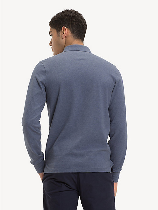 TOMMY HILFIGER Slim Fit Long-Sleeve Polo Shirt - VINTAGE INDIGO HTR - TOMMY HILFIGER NEW IN - detail image 1
