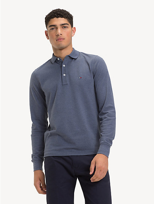 TOMMY HILFIGER Slim Fit Long-Sleeve Polo Shirt - VINTAGE INDIGO HTR - TOMMY HILFIGER NEW IN - main image