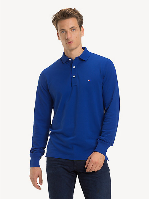 TOMMY HILFIGER Slim Fit Long-Sleeve Polo Shirt - SURF THE WEB - TOMMY HILFIGER Polo Shirts - main image