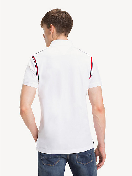 TOMMY HILFIGER Pure Cotton Slim Fit Polo Shirt - BRIGHT WHITE - TOMMY HILFIGER Polo Shirts - detail image 1
