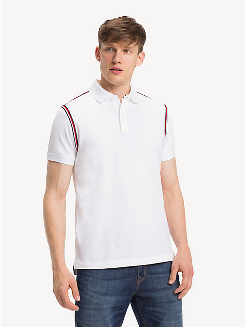 TOMMY HILFIGER Pure Cotton Slim Fit Polo Shirt - BRIGHT WHITE - TOMMY HILFIGER Polo Shirts - main image