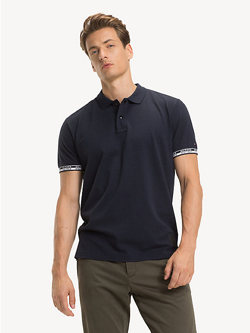 TOMMY HILFIGER Regular fit piqué poloshirt met logo - SKY CAPTAIN HEATHER - TOMMY HILFIGER NIEUW - main image