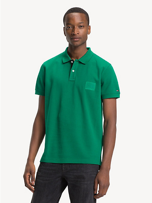 TOMMY HILFIGER Double Face Regular Fit Polo Shirt - ULTRAMARINE GREEN / JET BLACK - TOMMY HILFIGER NEW IN - main image