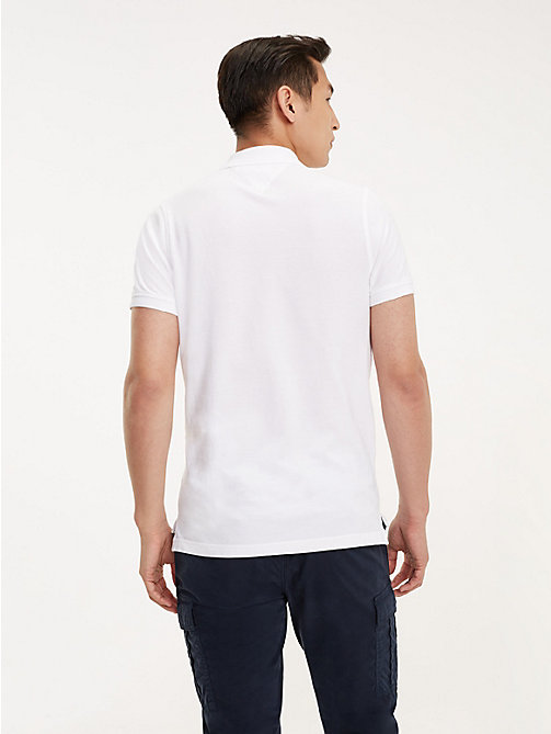 TOMMY HILFIGER Pure Cotton Slim Fit Polo - BRIGHT WHITE - TOMMY HILFIGER NEW IN - detail image 1