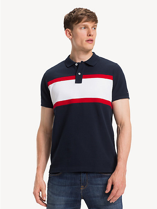 TOMMY HILFIGER Slim Fit Cotton Polo Shirt - SKY CAPTAIN/MULTI - TOMMY HILFIGER NEW IN - main image