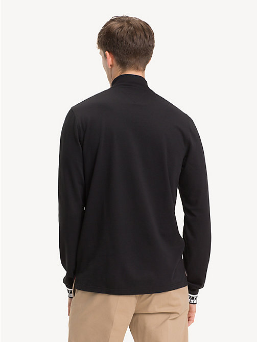 TOMMY HILFIGER Long-Sleeve Zipped Neck Polo Shirt - JET BLACK - TOMMY HILFIGER NEW IN - detail image 1