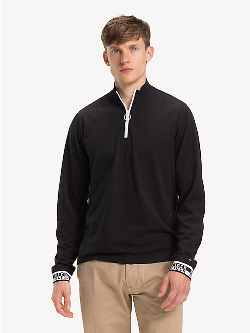 TOMMY HILFIGER Long-Sleeve Zipped Neck Polo Shirt - JET BLACK - TOMMY HILFIGER NEW IN - main image