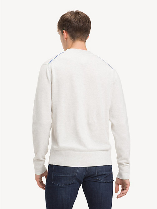 TOMMY HILFIGER Relaxed Fit Badge Jumper - SNOW WHITE HEATHER - TOMMY HILFIGER NEW IN - detail image 1