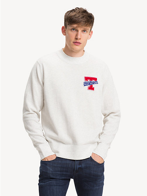 TOMMY HILFIGER Relaxed Fit Badge Jumper - SNOW WHITE HEATHER - TOMMY HILFIGER NEW IN - main image