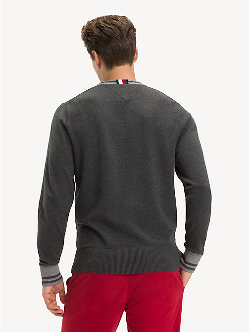 TOMMY HILFIGER Pure Cotton Crew Neck Jumper - CHARCOAL HTR - TOMMY HILFIGER Jumpers - detail image 1