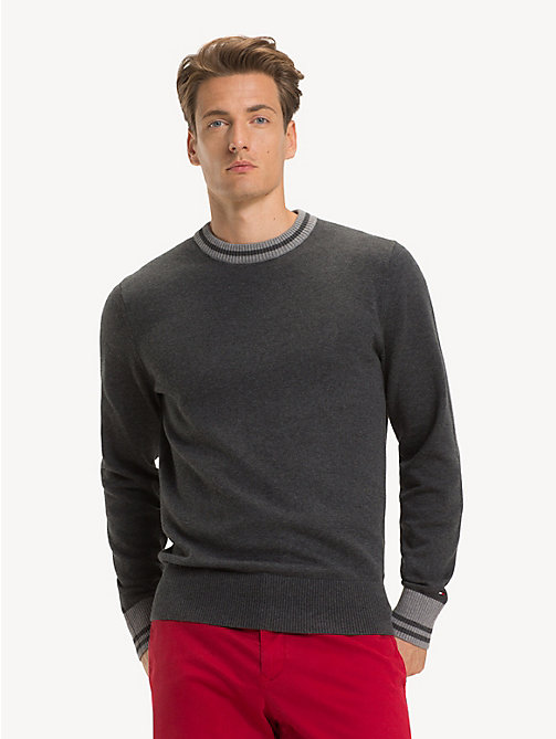 TOMMY HILFIGER Pure Cotton Crew Neck Jumper - CHARCOAL HTR - TOMMY HILFIGER NEW IN - main image
