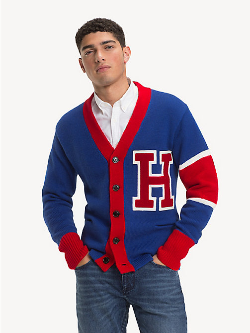 TOMMY HILFIGER Pure Wool Varsity Cardigan - SURF THE WEB - TOMMY HILFIGER NEW IN - main image