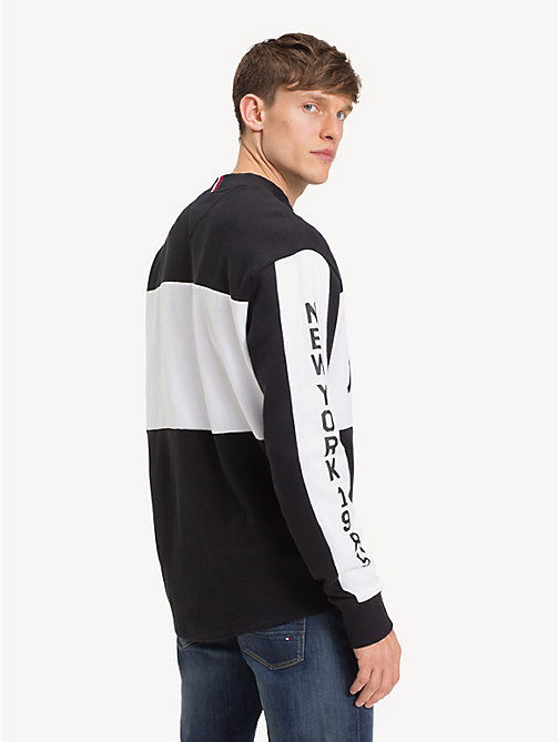 TOMMY HILFIGER Sweat oversize style hockey - JET BLACK / BRIGHT WHITE - TOMMY HILFIGER Sweats - image détaillée 1