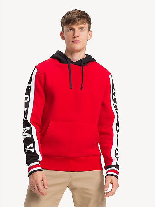 TOMMY HILFIGER Fleece Logo Hoody - GOJI BERRY / MULTI - TOMMY HILFIGER NEW IN - main image