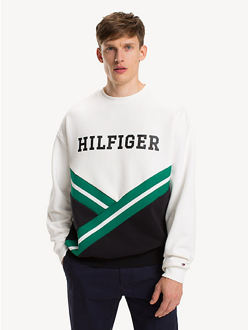 TOMMY HILFIGER Oversized Fit Sweatshirt mit Logo - SNOW WHITE MULTI - TOMMY HILFIGER NEW IN - main image