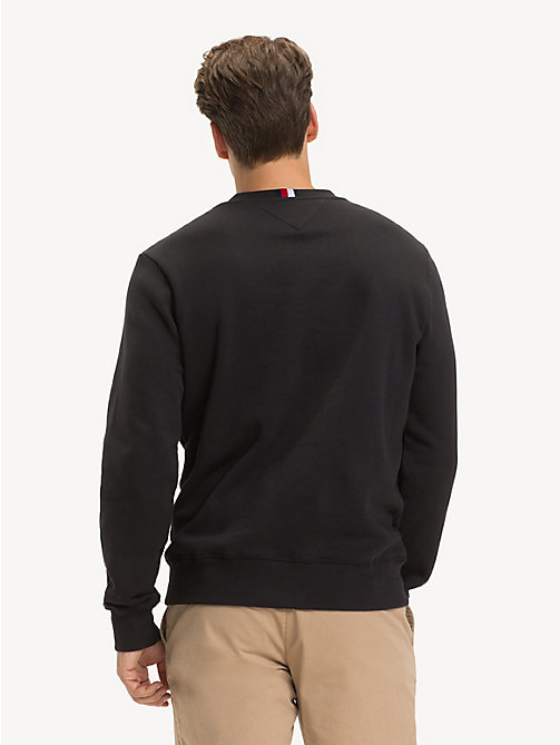 TOMMY HILFIGER Pure Cotton Logo Sweatshirt - JET BLACK - TOMMY HILFIGER NEW IN - detail image 1