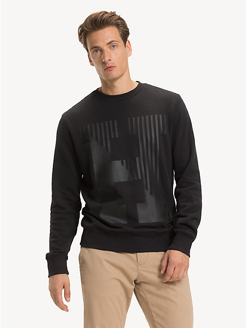 TOMMY HILFIGER Pure Cotton Logo Sweatshirt - JET BLACK - TOMMY HILFIGER NEW IN - main image