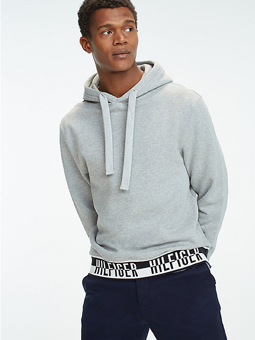 TOMMY HILFIGER Logo Drawstring Hoody - CLOUD HTR - TOMMY HILFIGER Hoodies - main image