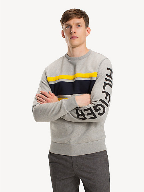 TOMMY HILFIGER Colour-Blocked Logo Sweatshirt - CLOUD HTR / MULTI - TOMMY HILFIGER NEW IN - main image