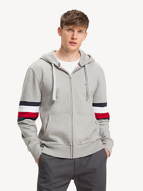 TOMMY HILFIGER Relaxed fit hoodie met rits en colour-blocking - CLOUD HTR - TOMMY HILFIGER NIEUW - main image