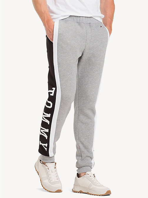 TOMMY HILFIGER Snap Button Logo Joggers - SILVER FOG HTR - TOMMY HILFIGER NEW IN - main image