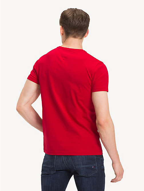 TOMMY HILFIGER Crew Neck Cotton T-Shirt - HAUTE RED - TOMMY HILFIGER T-Shirts - detail image 1