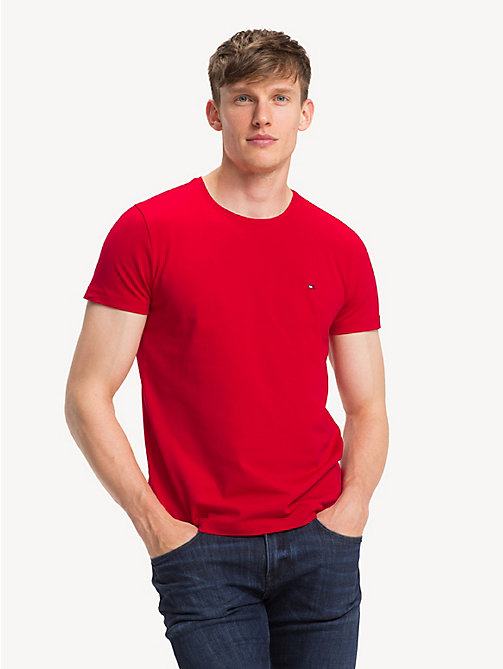 TOMMY HILFIGER Crew Neck Cotton T-Shirt - HAUTE RED - TOMMY HILFIGER T-Shirts - main image