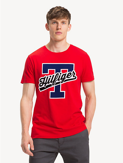 TOMMY HILFIGER Pure Cotton Logo T-Shirt - GOJI BERRY - TOMMY HILFIGER NEW IN - main image