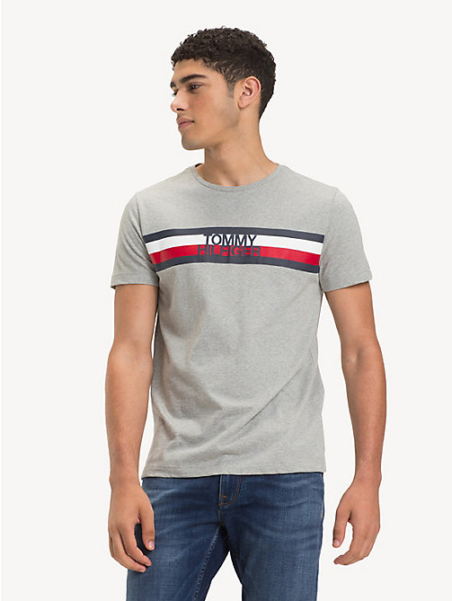 TOMMY HILFIGER Signature Logo T-Shirt - CLOUD HTR - TOMMY HILFIGER Sustainable Evolution - main image