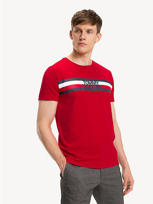 TOMMY HILFIGER Signatur-T-Shirt aus Bio-Baumwolle - HAUTE RED - TOMMY HILFIGER Sustainable Evolution - main image