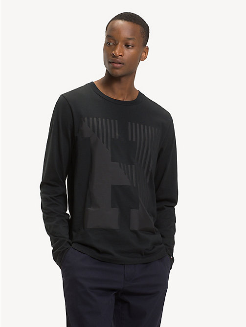 TOMMY HILFIGER T-shirt à monogramme en pur coton - JET BLACK - TOMMY HILFIGER Sustainable Evolution - image principale