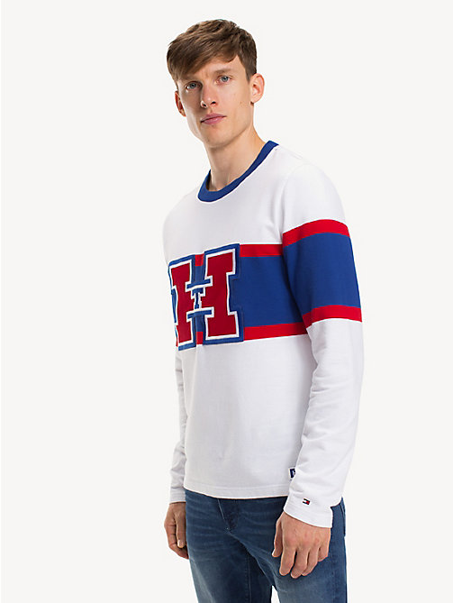 TOMMY HILFIGER Colour-blocked T-shirt met monogram - BRIGHT WHITE - TOMMY HILFIGER Kleding - main image
