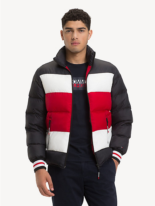 TOMMY HILFIGER Stripe Padded Bomber Jacket - JET BLACK - TOMMY HILFIGER NEW IN - main image