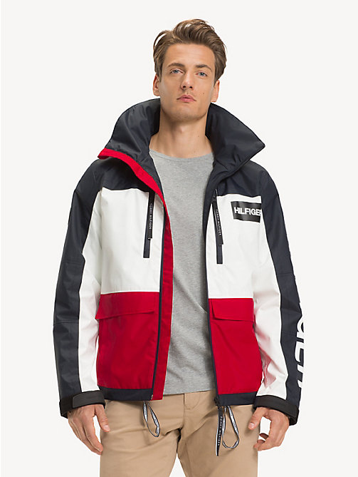 TOMMY HILFIGER Colour-Blocked Hooded Jacket - HAUTE RED - TOMMY HILFIGER NEW IN - main image