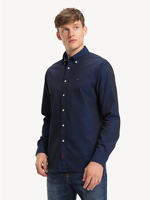 TOMMY HILFIGER Polka Dot Cotton Shirt - SURF THE WEB / JET BLACK - TOMMY HILFIGER Casual Shirts - detail image 1