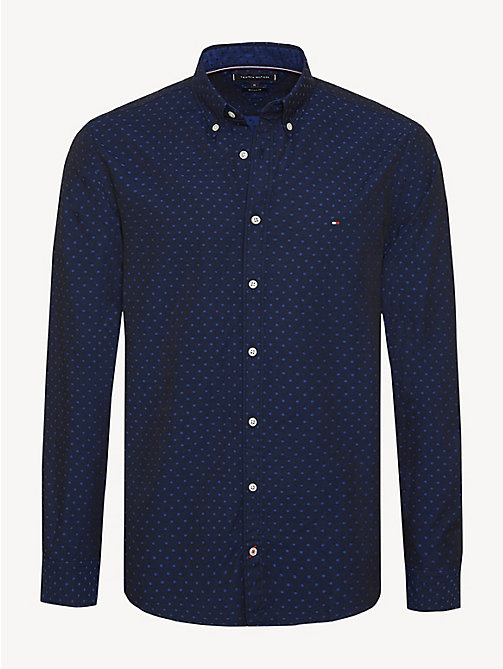 TOMMY HILFIGER Polka Dot Cotton Shirt - SURF THE WEB / JET BLACK - TOMMY HILFIGER Casual Shirts - main image