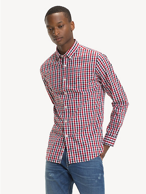 TOMMY HILFIGER Gingham Check Oxford Shirt - HAUTE RED / BLACK IRIS / MULTI - TOMMY HILFIGER NEW IN - detail image 1