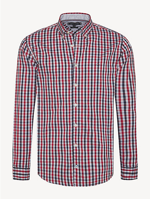 TOMMY HILFIGER Gingham Check Oxford Shirt - HAUTE RED / BLACK IRIS / MULTI - TOMMY HILFIGER NEW IN - main image