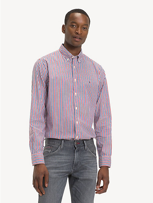 TOMMY HILFIGER Stripe Oxford Shirt - HAUTE RED / MULTI - TOMMY HILFIGER Sustainable Evolution - detail image 1